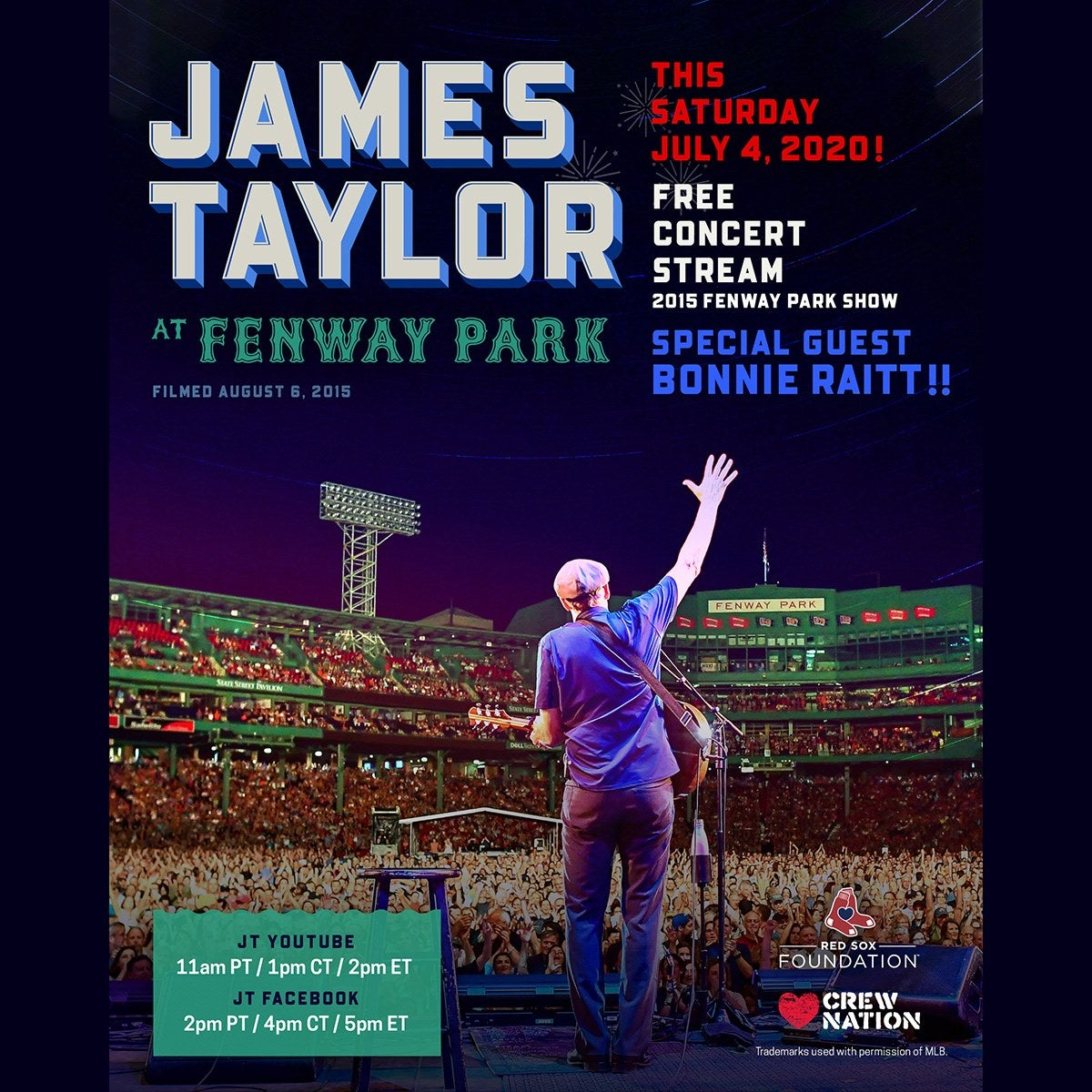 James Taylor Supports Crew Nation at Fenway Park