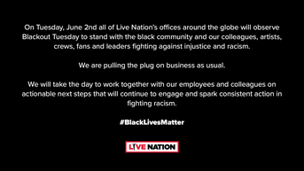 A Message From Live Nation